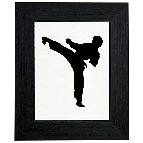 Martial Arts Silhouette - Beautiful Martial Arts Silhouette Side Kick Karate Graphic Framed Print Poster Wall or Desk Mount Options