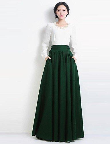 GSP-vendimia lana dom alta cintura verde falda larga ocasional de ...