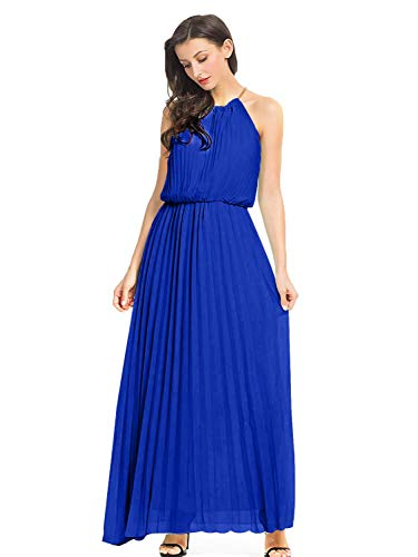 PERSUN Women's Casual Chiffon Cut Out Shoulder Pleated Party Maxi Dress (Large, Blue)