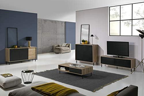 Mueble Auxiliar salón Brooklyn 2 Puertas Metal Negro, Estructura en Color Madera y Patas metálicas, 110 cm Largo x 40 cm Profundo x 99 cm Alto: Amazon.es: Hogar