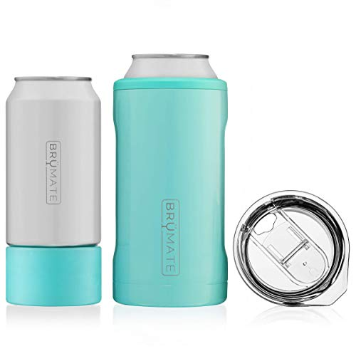 BrüMate HOPSULATOR TRíO 3-in-1 Stainless Steel Insulated Can Cooler, Works With 12 Oz, 16 Oz Cans And As A Pint Glass (Aqua Blue) from BrüMate