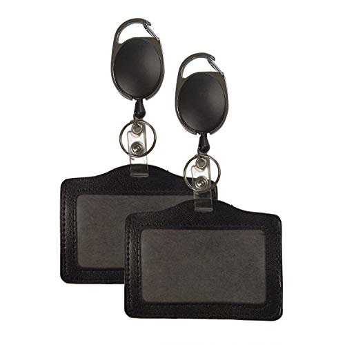 Leather Badge ID Holders w/Retractable Carabineer Reels (2-Pack) Personal, Travel, Office, or Security Identification Storage | Vertical and Horizontal Sets | Incl. Keychain (Horizontal) -