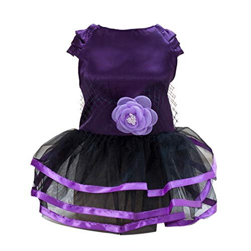 LVYING Bow Retro Satin Dress Pet Dog Puppy Cat Summer Lace Princess Skirt Party Tutu Ballet Clothes for Small Dogs