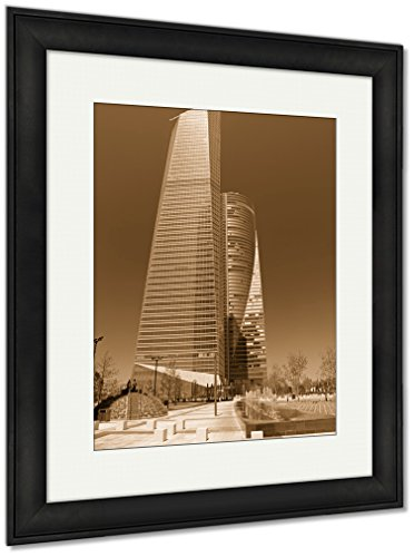 Ashley Framed Prints Modern Skyscrapers Cityscape Of Madrid The Capitol Of Spain, Wall Art Home Decoration, Sepia, 30x26 (frame size), Black Frame, AG5601136 by Ashley Framed Prints