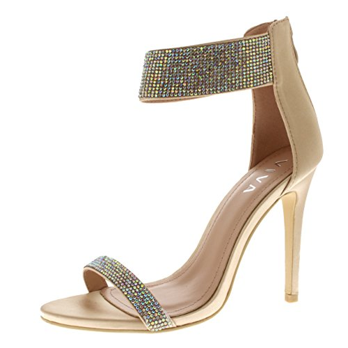 Viva Womens Diamante Ankle Strap High Heel Party Evening Wedding Shoes - Nude Satin KL0268E 7US/38 by Viva