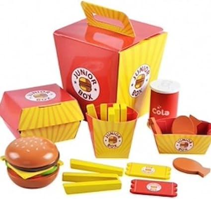 Babyhugs - Comida de hamburguesa de madera para niños en una caja, juguete para comida