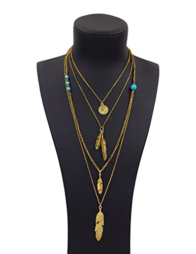 Boosic Multi-layer Leaf Feather Pendant Necklace Turquoise Bohemian Necklace For Women Golden (Novelty Necklaces)