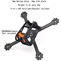 usmile FlyFox No.5 135mm Unibody Micro Carbon Fiber Quadcopter Frame Kit Mini quad fpv racing drone 3mm arm with 2 in 1 LED taillight/buzzer support for Runcam Micro Swift FPV camera