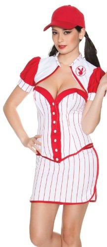 Playboy Home Run Costume, White/Red, Medium -