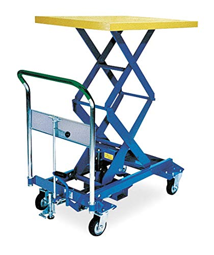 Mobile Manual Lift, Manual Push Scissor Lift Table, 770 lb. Load Capacity, Lifting Height Max. 49-51