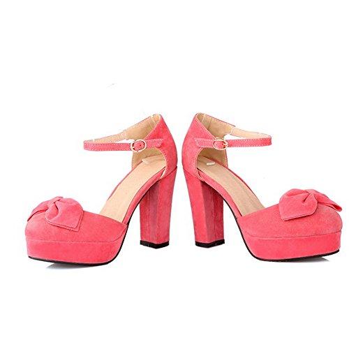 BalaMasa da donna punta chiusa con fibbia solido tacchi alti sandali, Rosa (Pink), 38