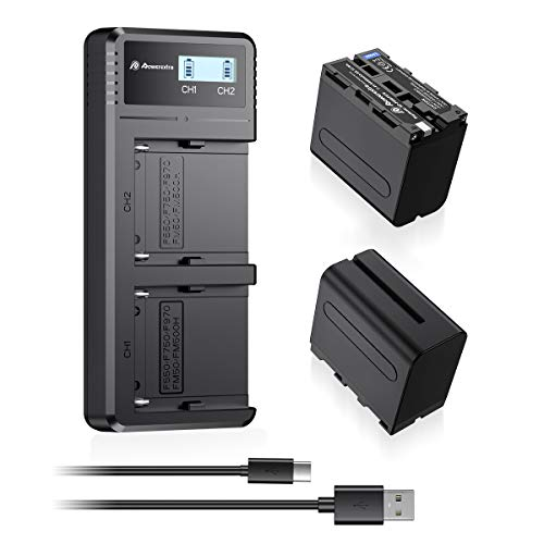 Powerextra 2 Pack Replacement Sony NP-F970 Battery and Fast Charger Dual USB Charger for Sony NP-F970 NP-F930 NP-F950 NP-F960 NP-F550 NP-F530 NP-F330 NP-F570 Battery and Sony handycams