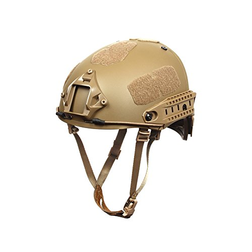 Outry Tactical Fast Helmet, Adjustable ABS Helmet with Side Rails and NVG Mount, Fast Ballistic Helmet for Airsoft Paintball Hunting Shooting Outdoor Sports (Tan)