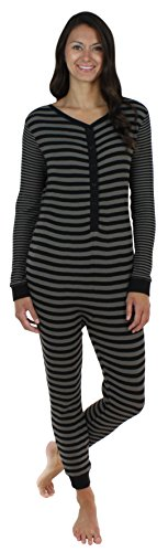 Sleepyheads Women's Thermal Onesie without Feet Black (SH1389-W-4049-XL) (Adult Onsie With Feet)