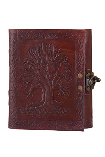 ALBORZ Handmade Genuine Leather Travel Journal Tree of Life with Antique Lock, Leather Bound Notebook, Best Gift for Art Sketchbook, Size 6 x 4 inches - Leather Photo Journal