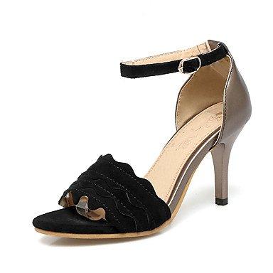 Sandalias Primavera Verano Otoño Zapatos Club Fleece Oficina & Carrera parte & traje de noche Stiletto talón hebilla Beige Rosa Negro Black