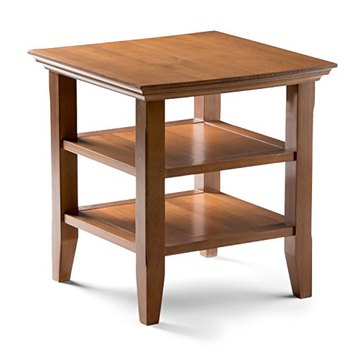 Simpli Home Acadian Solid Wood End Side Table, Honey Brown