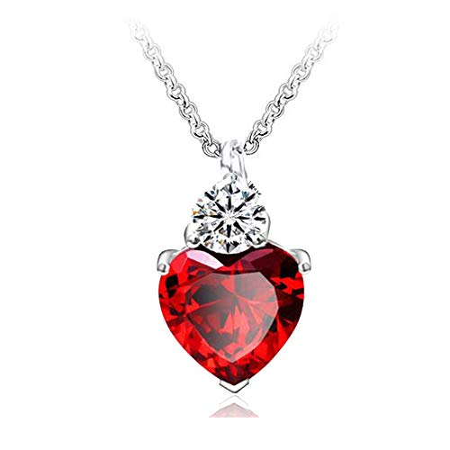 Evil Queen Of Hearts Halloween (IDOXE Queen of Hearts Necklace 925 Sterling Silver Chain January Birthstone Evie Red Heart Toy Princess Halloween Accessories Jewelry Valentine's Gift for)