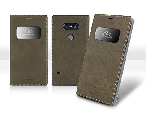 G5 View Flip Wallet Case, Smart Wake up, Sleep Function, Quick View Window, Time / Call ID, LG G5 Soft Leather Cover, 9 Colors - Retail Packaging (Gray) (Rain Forest Ginger)