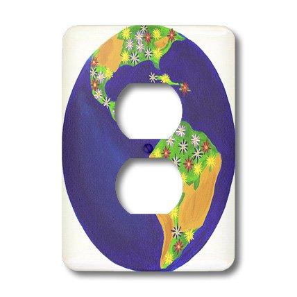 - 3dRose lsp_13569_6 Planet Earth Bouquet 2 Plug Outlet Cover