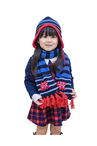 Baby In pezzi Girl Hat Striped di Warm pompon Soft e con Car Set Knit sciarpa Winter Beanie Set Cache Crochet Acmede Ears Winter Stampa Boy Cappello Toddler 2 A1fqpwv