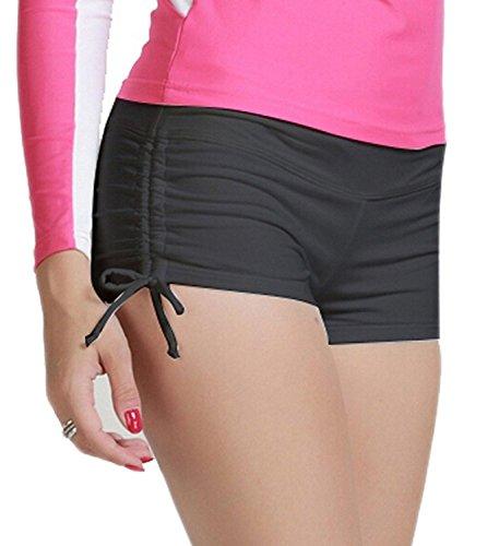 MiYang Women's Solid Black Beach Pant Bikini Bottom Adjustable Tie Boy Short