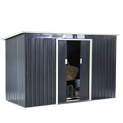 JAXPETY 9'x4' Metal Outdoor Garden Storage Shed All Weather Tool Utility House Backyard
