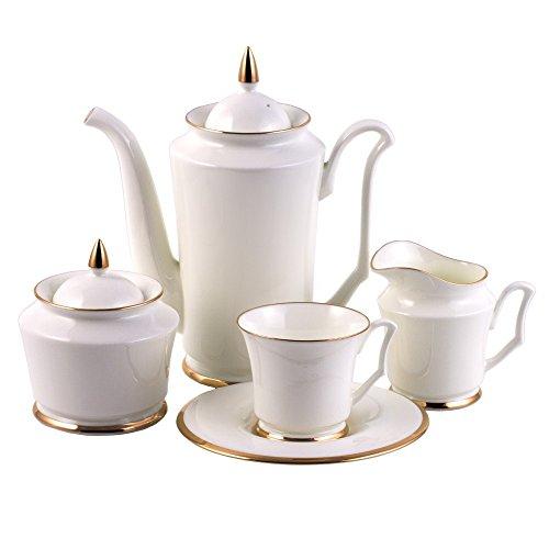 Imperial Porcelain Golden Ribbon 15-Piece Coffee Set for 6 Persons Lomonosov Porcelain by Imperial Porcelain Factory