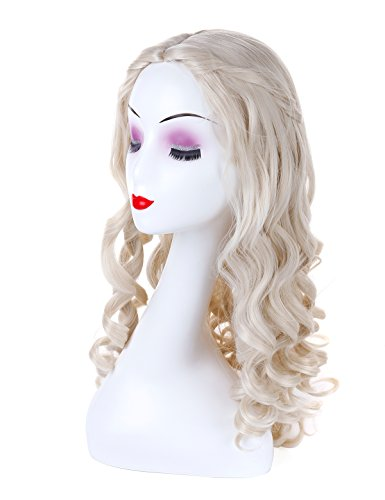 Morvally Long Hand Curly Synthetic Blonde Hair for Cosplay Costume Halloween Party Wig for Adult Kids]()