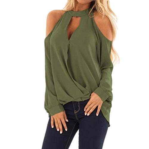 Women's Long Sleeve Sexy Blouse Deep V Neck Casual Bodycon Tee Shirts Tops-SUNSEE Gril