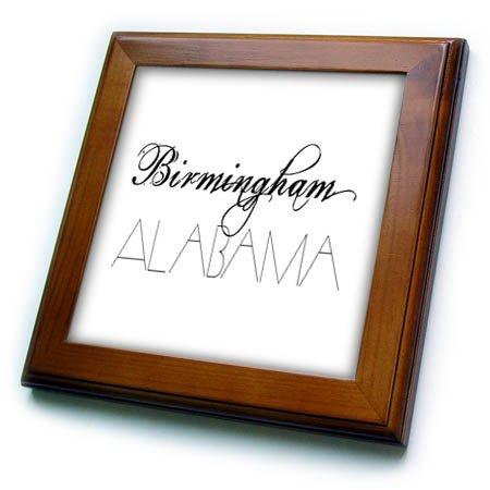 (3dRose Alexis Design - American Cities - American Cities - Birmingham Alabama, black on white - 8x8 Framed Tile (ft_283707_1))