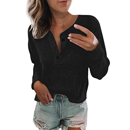 Women's Casual Button Pullover Long Sleeve Blouse Autumn Sweater T-Shirt Tops