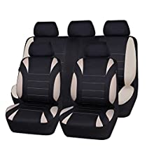 NEW ARRIVAL- CAR PASS Waterproof Neoprene 11 Piece Universal fit Car Seat Covers, Fit for SUVS,VANS,TRUCKS,SEDANS ,Airbag Compatible,Inside Zipper Design (black and beige color)