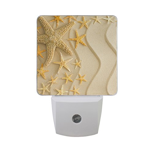Naanle Set of 2 Nautical Theme Starfish On Golden Wavy Beach Sand Summer Travel Design Auto Sensor LED Dusk To Dawn Night Light Plug In Indoor for Adults by Naanle