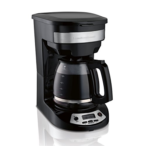 Hamilton Beach 12 Cup Programmable Coffee Maker, Brew Options, Glass Carafe (46299), Black with Stainless Accents (5 Cup Programmable Coffee Maker)