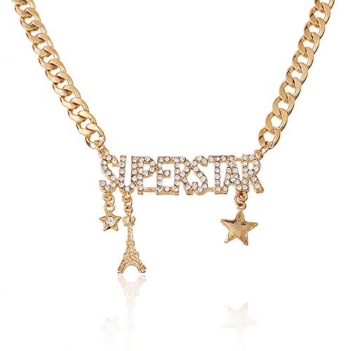 GMQHD Rhinestone Charm Classic Letters Alphabet Pendant Long Necklace for Women.(Boss-Gold) (Superstar-G)]()
