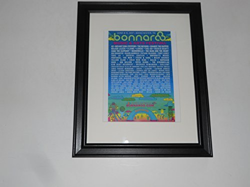"Framed Bonnaroo 2017 Handbill Poster, 14"" by 17"" U2, Red Hot Chili Peppers, Weeknd, XX, Chance, Lorde"