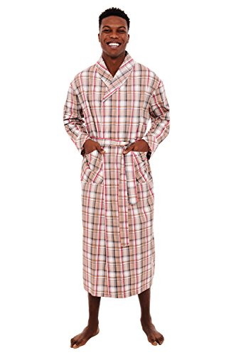 Alexander Del Rossa Mens Lightweight Cotton Robe, Medium Light Multi Plaid (A0715R11MD)
