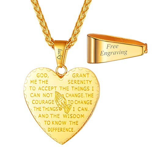 Praying Pendant Gold Plated Hands - U7 Men Women Heart Bible Verse Prayer Necklace with Free Chain 22 Inch Personalized Message Engraved Christian Jewelry 18K Gold Plated Praying Hands Pendant Necklace