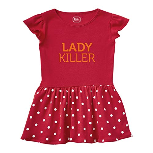 (Lady Killer Short Sleeve Taped Neck Girl Cotton Toddler Rib Dress School Clothes - Red, 4T)