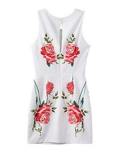 PU&PU Robe Aux femmes Gaine Street Chic,Fleur Col Arrondi Au dessus du genou Polyester , white-l , white-l