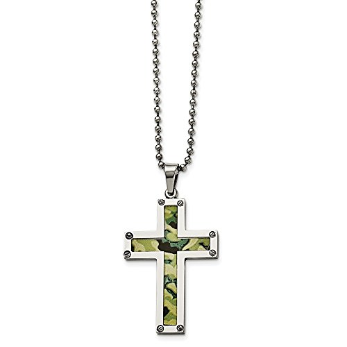 FB Jewels Solid Stainless Steel Polished Camouflage Cross -