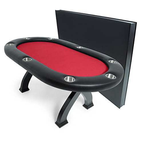 BBO Poker X2 Mini Poker Table for 8 Players with Red Felt Playing Surface, 74.5 x 47.5-Inch, Includes Matching Dining ()