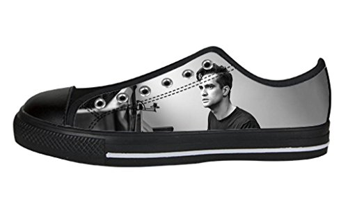 Custom Imported Men's Rock Band Panic At The Disco Logo Canvas Shoes Low-Top Lace-up Rubber Black Casual (Mens Disco Shoes)