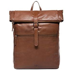 SID & VAIN Sac à Dos Cuir véritable 15″ Levi Zip Sacs portés Dos XXL Grand – Homme Backpack Ville Voyage Scolaire Marron