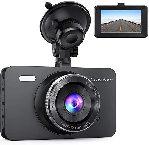 Crosstour Dash Cam 1080P Car Driving Camera Recorder DVR Full HD 3 LCD Screen 170 Wide Angle, WDR, Loop Recording and Motion Detection