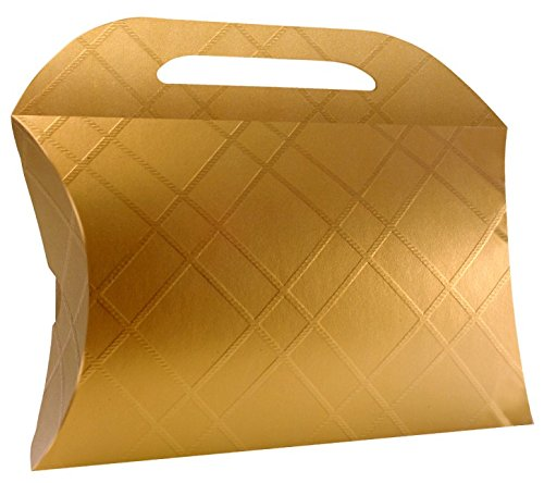 Decorative Gold Craft Cardboard Gift Boxes. A Box Set of 12 with Lids and Handle for different Occasions like Holiday Wedding Birthday baby shower Christmas or a bridesmaid party (3.3 x 3.3 x 1.2 inch
