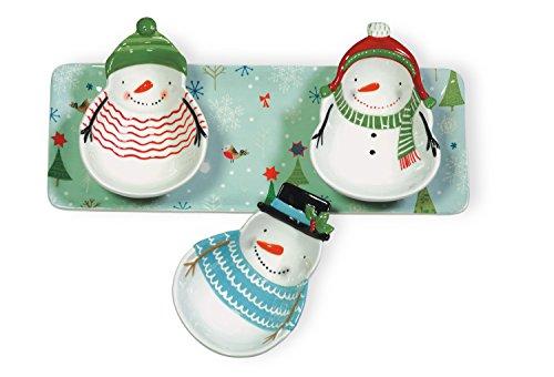 Boston International BIP16844 Snowmen Platter, (Snowman Dip Set)