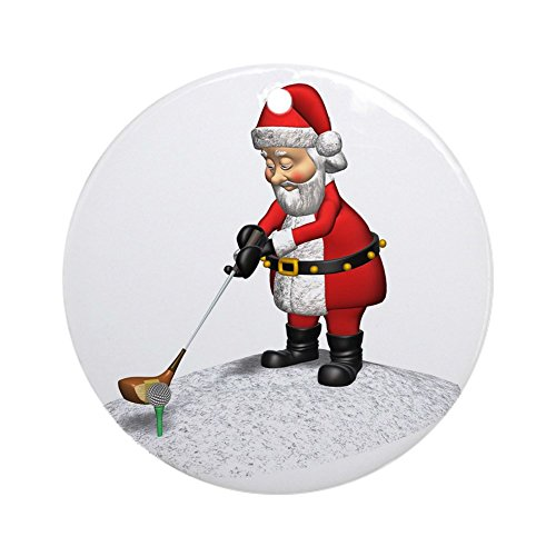 CafePress Golfing Santa Claus Ornament (Round) Round Holiday Christmas Ornament