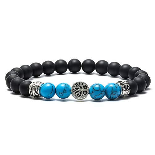 M MOOHAM Turquoise Bracelet for Women Men - 8mm Natural Matte Agate Bead and Blue Howlite Bead Bracelet for Men Women Stress Relief Yoga Mens Bracelet Birthday Gifts Retirement Gifts